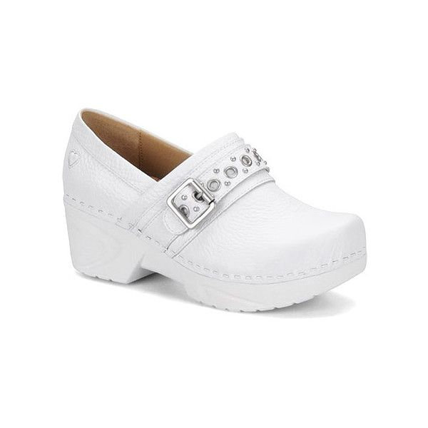 Nurse Mates Chelsea ($120) ❤ liked on Polyvore featuring shoes, clogs & mules, closed-back clogs, white, women's, mules clogs, slip resistant shoes, clog shoes, white strap shoes e white mules