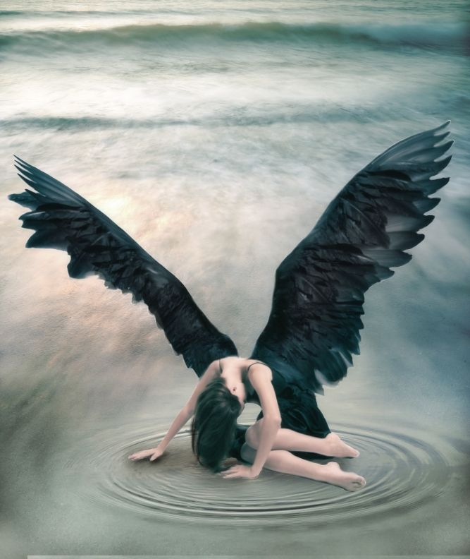 fallen angel with black wings. fantasy art