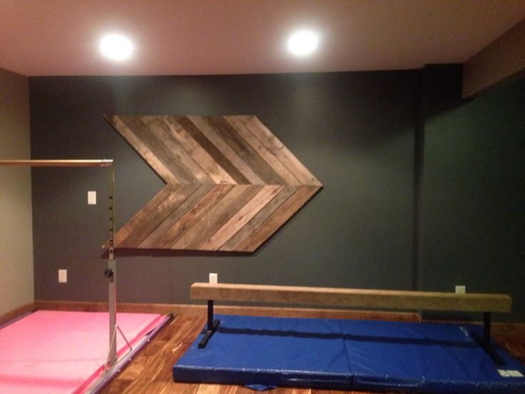Girls gymnastics area in basement project