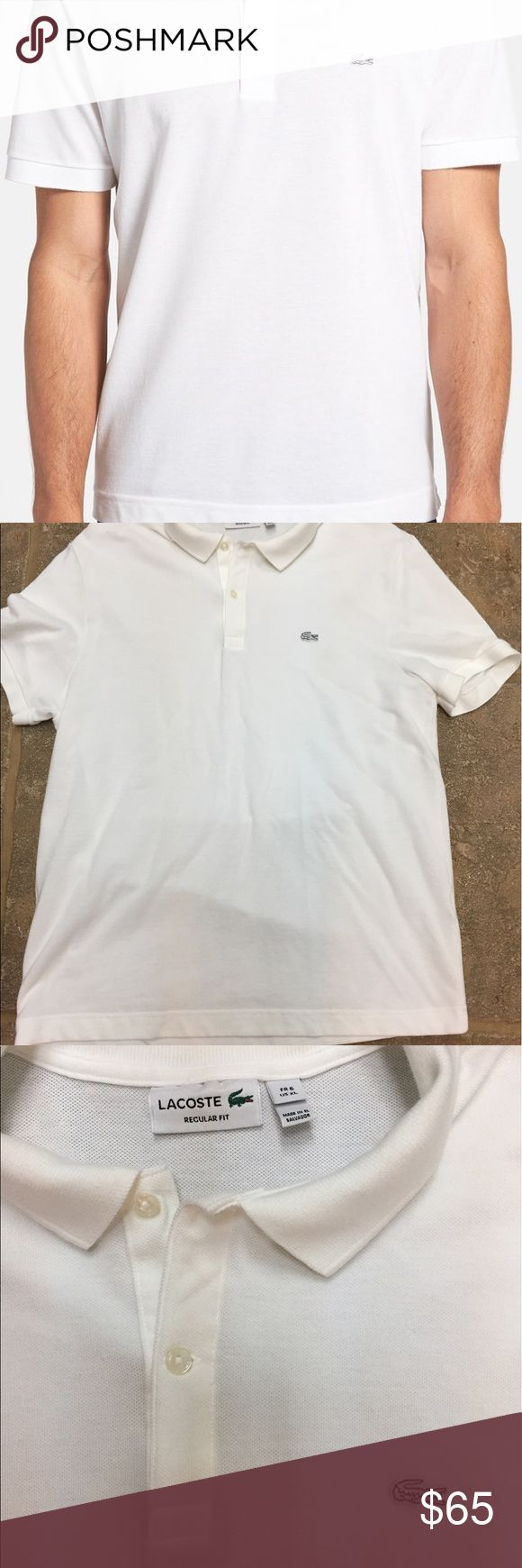 Lacoste men's white pique polo shirt regular fit A white crocodile emblem at the chest brands a classic pique cotton polo shirt.,2 button placket 100% cotton. Size 6. New without tags. Lacoste Shirts Polos