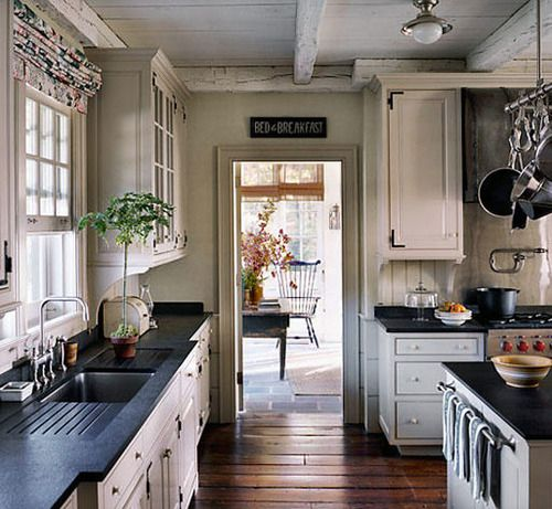 SoapstoneCeilings Beams, Decor Ideas, Dreams Kitchens, Floors, Black Countertops, Kitchens Inspiration, House, Country Kitchens, White Cabinets