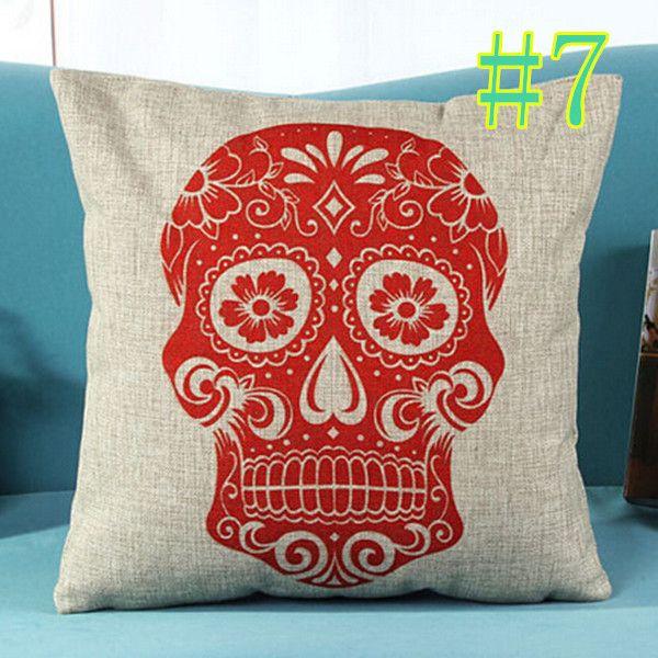 Créative crâne coton linge de taie d'oreiller décor vintage housse de coussin