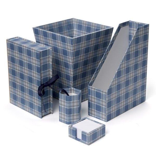 Blue Plaid Desk Accessories Nina Campbell