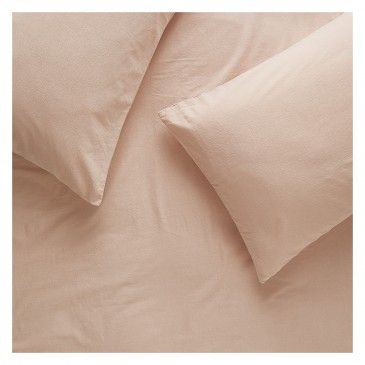 WASHED PINK Pink stonewashed double duvet cover set