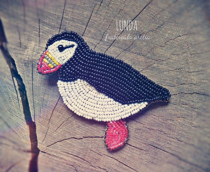 bead embroidery brooch puffin