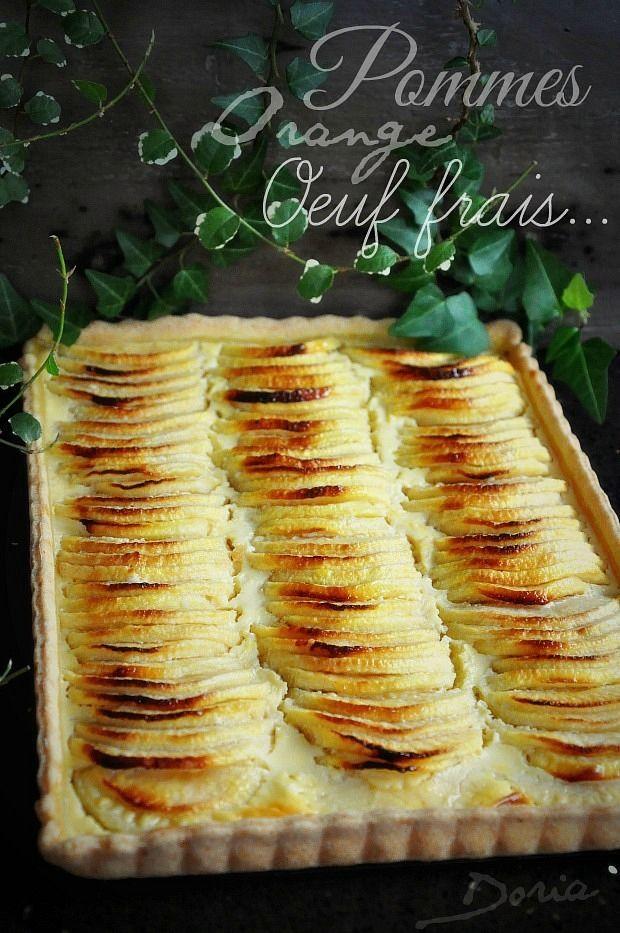 Excellente tarte au bon goût d'orange... Ingrédients pour un tarte rectangulaire Pâte à foncer sucrée 1 oeuf 20 gr de sucre en poudre 200 gr de farine fluide 100 gr de beurre Une pincée de sel Zeste d'1 orange Dans un bol, battre l'oeuf. Dans un saladier,...