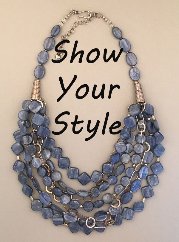 7095929184 Sharon Cipriano Jewelry. Handcrafted kyanite and silver statement necklace.  One-of-a-kind.