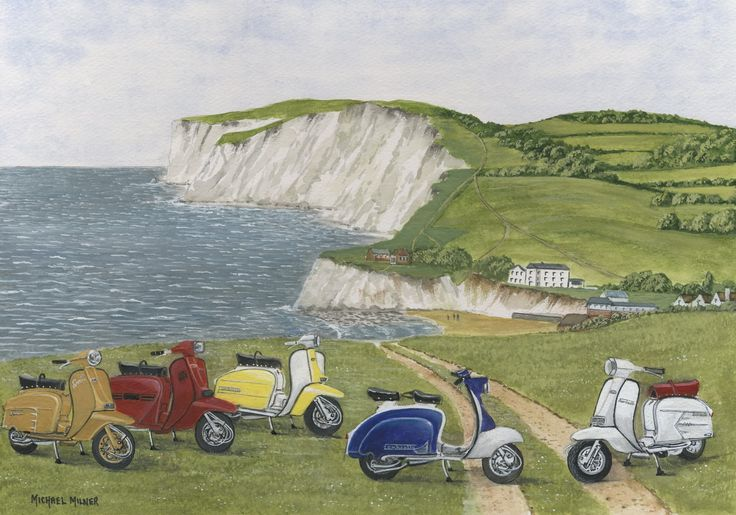 """006MM078 - The Italian Job visits Freshwater Bay, The Isle of Wight - 16"""" x 12"""" Print Only £12.99 9.5"""" x 6.5"""" Mounted to 14"""" x 11"""" - £12.99"""