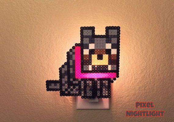 Minecraft Wolf | Mincraft inspired | Nightlight | Wall Decor | Pixel Design | Size X-Large