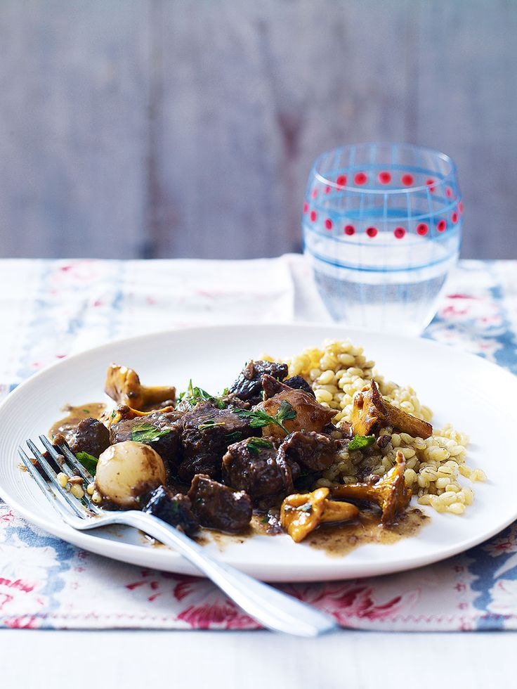 This stew recipe uses venison which is fairly lean, so slow-cooking is a perfect way to cook it to stop it drying out.