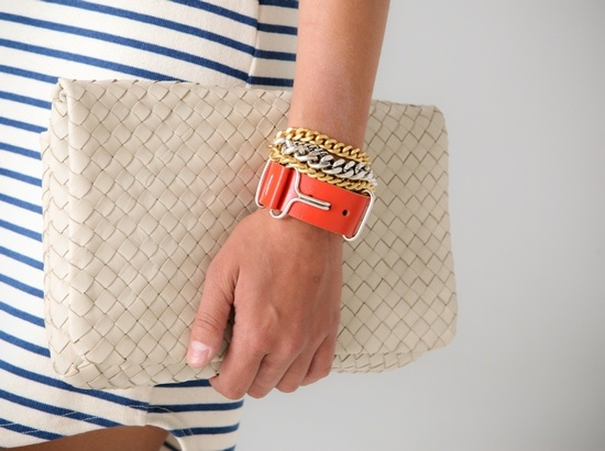Bracelets, Bags Purses Wallets Backpacks, Fashion Fashioncherri, Clutches Bags, Accessories, Brother Jewelry, Stripes Dresses, Woven Clutches, Mixed Metals