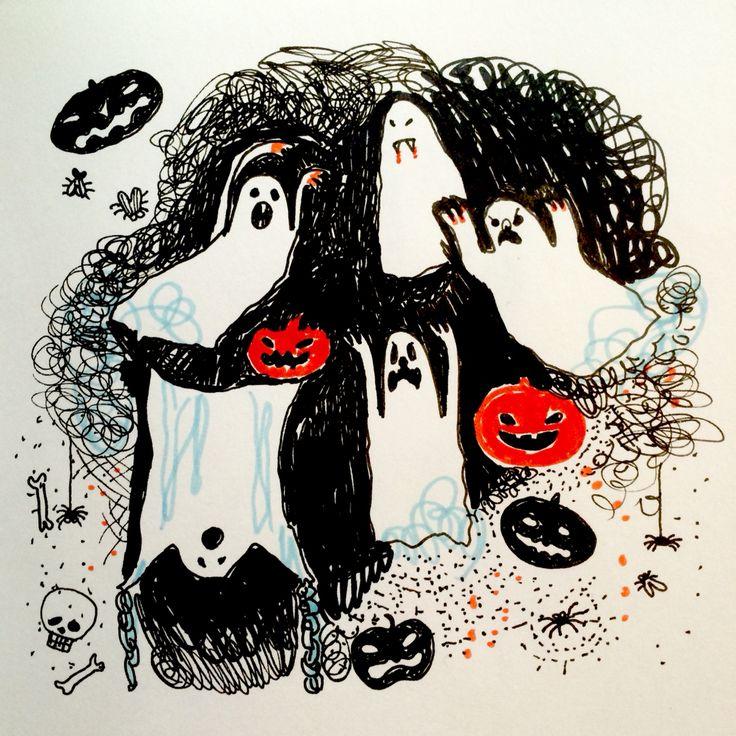 Ghosts at Halloween by Marie Åhfeldt, Mås Illustra.