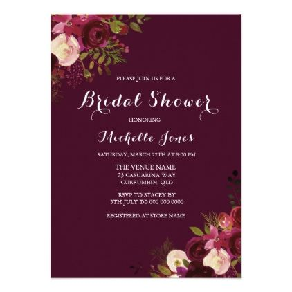 Burgundy Red Floral Spring Autumn Bridal Shower Card - bridal shower gifts ideas wedding bride