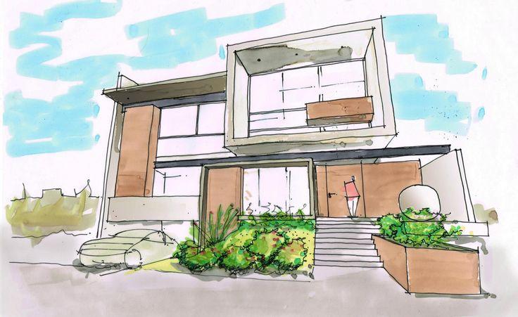 Bosquejo fachadas creato arquitectos arq pinterest for Arquitectura moderna casas pequenas