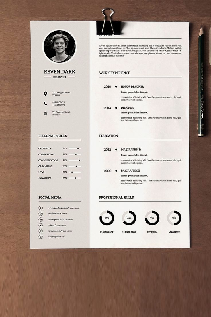 Clean professional resume template file information