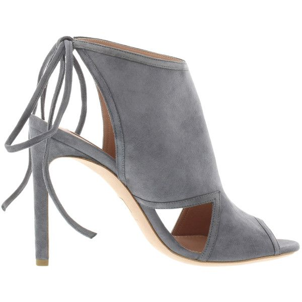 Boss Lady Sandal Charcoal in grey, Sandals ($630) ❤ liked on Polyvore featuring shoes, sandals, gray shoes, peep toe sandals, grey sandals, suede sandals and stiletto sandals