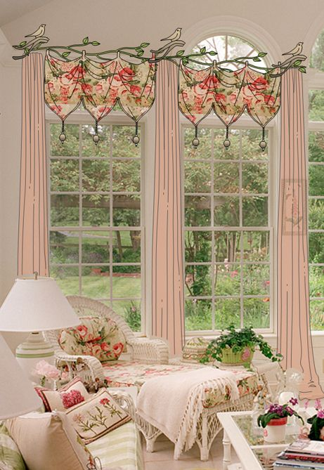 17 best images about drapery curtains toppers on pinterest for Cottage style curtain ideas