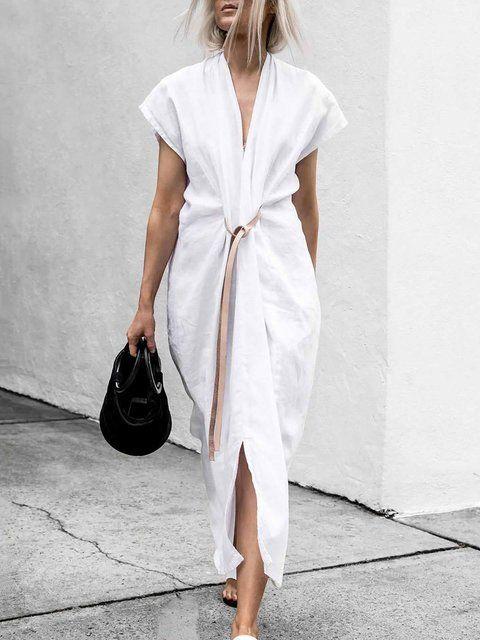 Maxi White Plus Size Casual Dresses