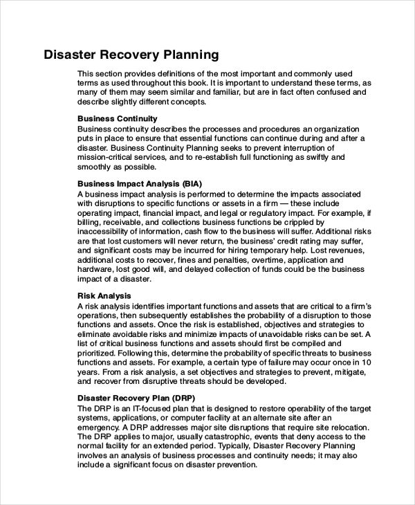 Business Contingency Plan Example Database Disaster Recovery Plan