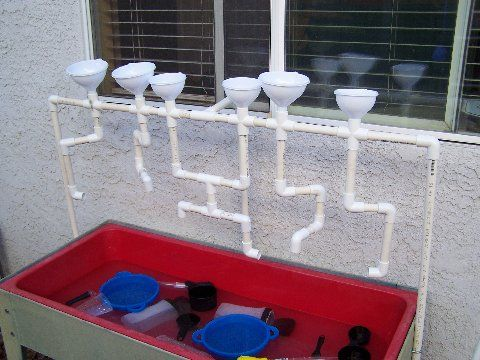PVC Pipes and funnels over the sensory table!