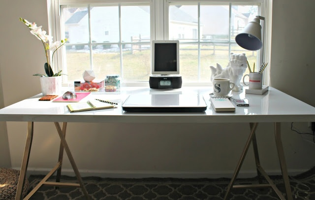 DIY desk with gold legs