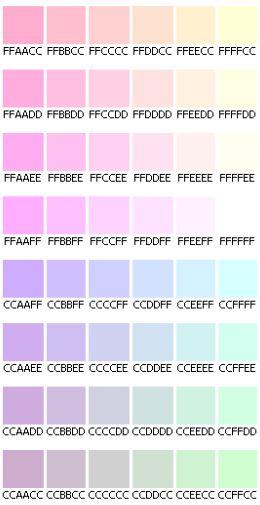 Code HTML des couleurs pastel
