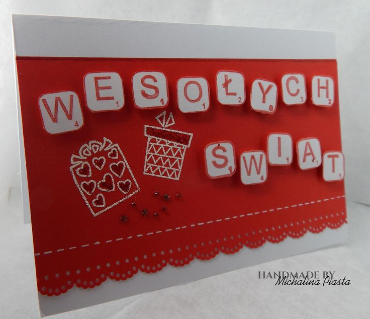 Merry Christmas; fun stamps in red and white