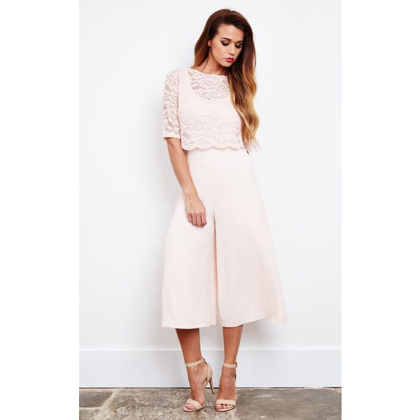 John Zack Blush Lace Top Culotte Jumpsuit (£53) ❤ liked on Polyvore featuring jumpsuits, neutral, white lace jumpsuit, jump suit, white jumpsuit, john zack and lace jumpsuit