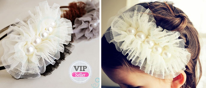 love this fun tulle and pearls headband, a must make!!!
