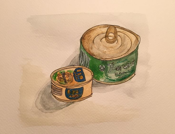 Tuna time, watercolor and fineliner