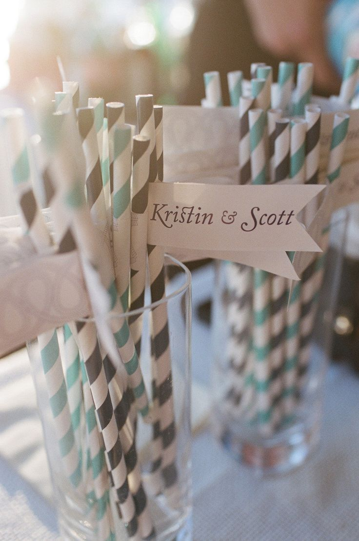 Quirky invitation using a straw, diy your own label with wedding date on