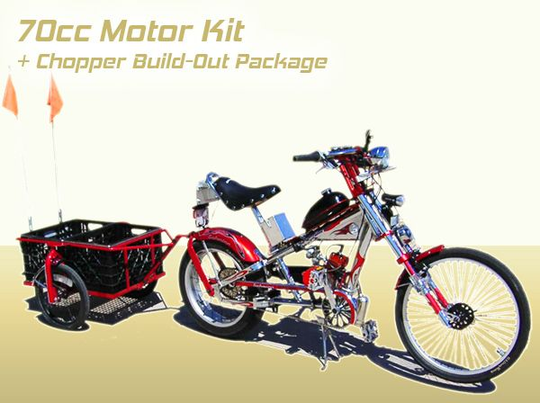 Schwinn Stingray OCC Chopper Build Out Package + 70cc 2 Cycle Center Mount Speedster Bicycle Motor Kit - Standard Clutch - Live Fast Motors