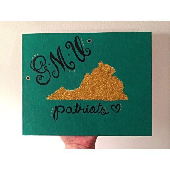 GMU Patriots George Mason University glitter canvas by MerrittsCrafts on Etsy, $15.00 dorm decor
