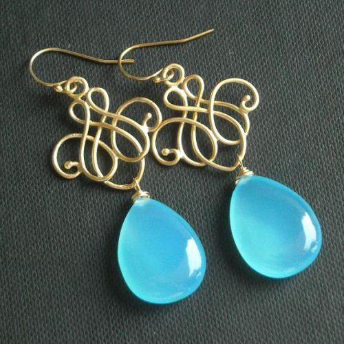 Blue chalcedony earrings - Blue chandelier earrings - Chalcedony drop  #ChalcedonyEarrings #BlueChalcedonyEarrings #GemstoneEarrings $65.00