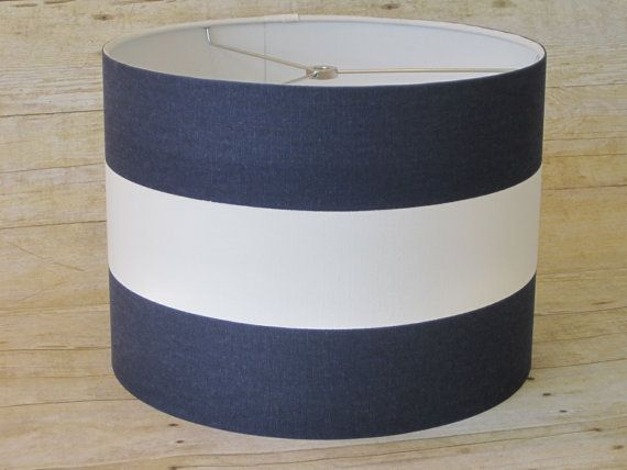 Drum lamp shade lampshade pendant navy white wide stripe for Wide drum lamp shade