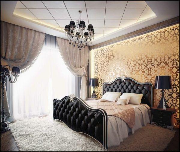 un intrieur splendide chambre coucher papier peint baroque rideaux vintage et un