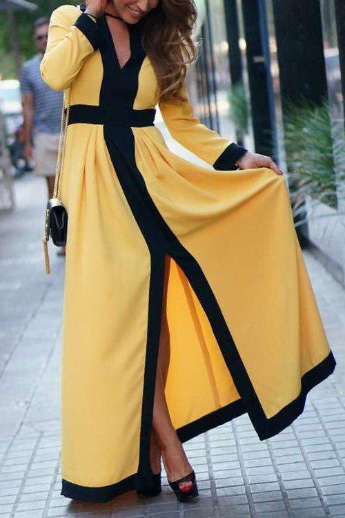 Front Slit V-Neck Long Sleeve Cut Out Maxi Dress