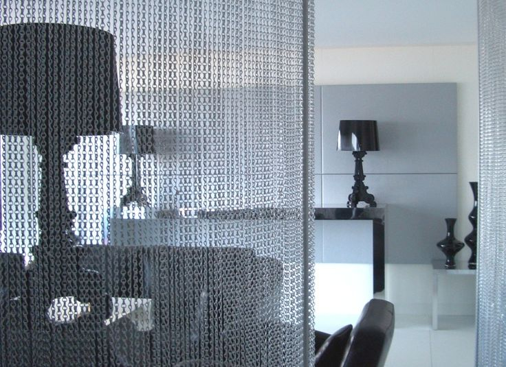 Chain Link Screen ~ Chain link room screen divider hospitality design