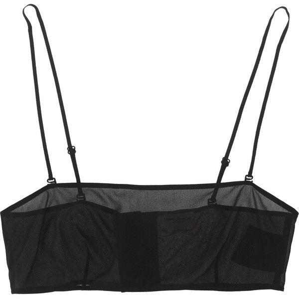 Saint Laurent Stretch-silk georgette bandeau bra (2,595 ILS) ❤ liked on Polyvore featuring intimates, bras, underwear, tops, lingerie, black, racerback bra, black bandeau bra, bandeau bra and stretchy bras