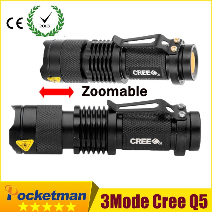 high-quality Mini Black CREE 2000LM Waterproof LED Flashlight 3 Modes Zoomable LED Torch penlight free shipping ZK94