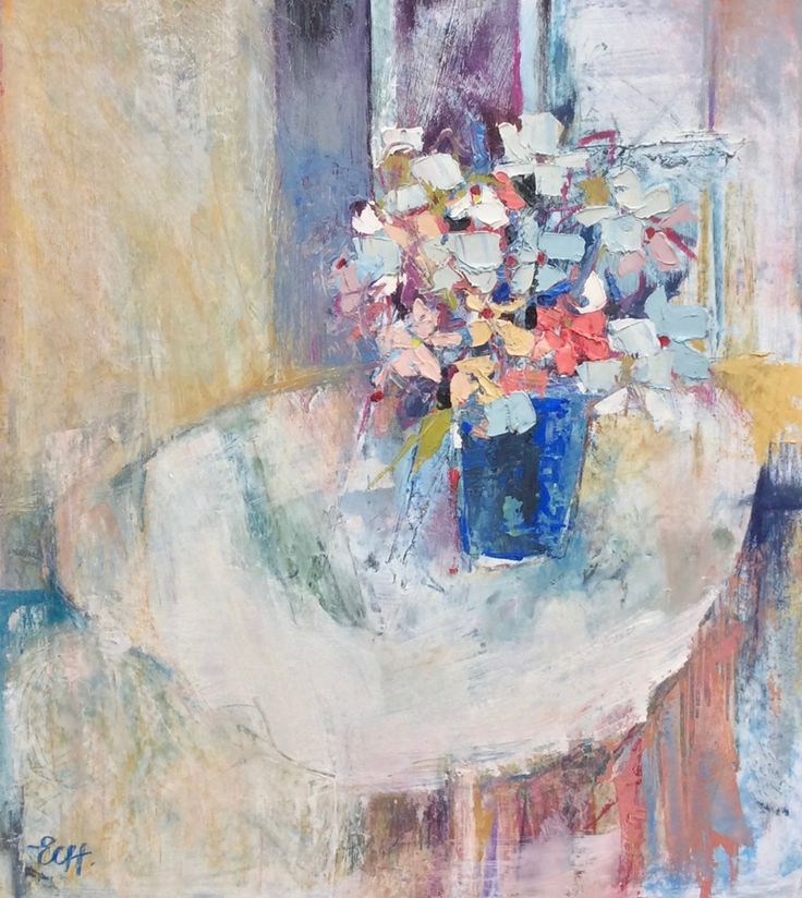 Flowers on the Table Oil on Board 48 x 43 cm   #Art #Paintings #StillLife