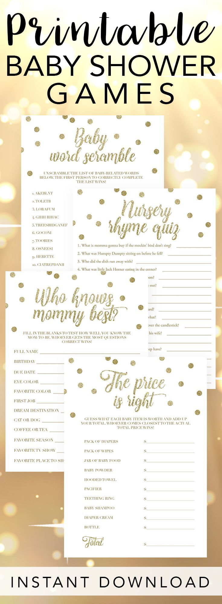 Gold Baby Shower Printable Game Pack