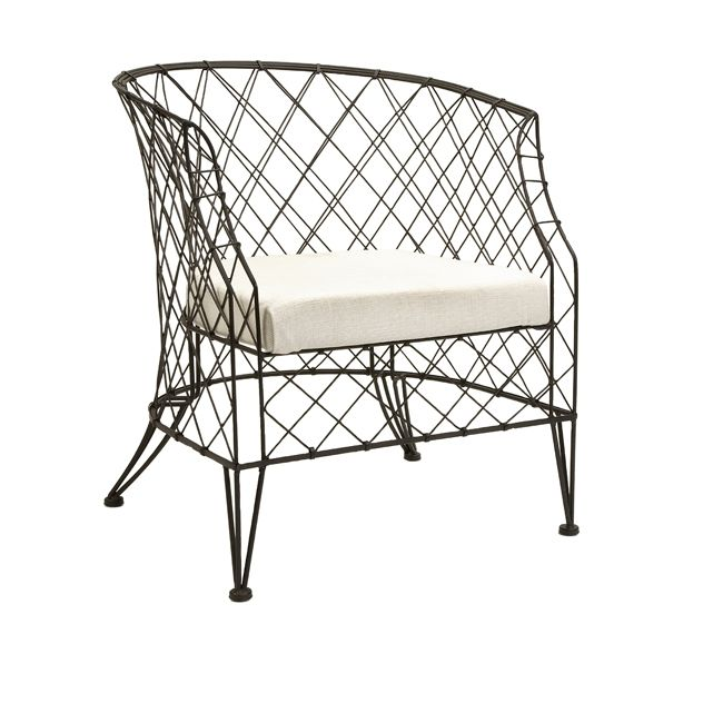 IMAX 84407 Chesterfield Metal Wire and Upholstery Accent Chair for porch.  Different.  Put Sunbrella fabric on seat.
