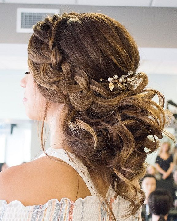 Crown Braided With Swept Back Bridal Hairstyles Braids With Curls Prom Hairstyles For Long Hair Quince Hairstyles