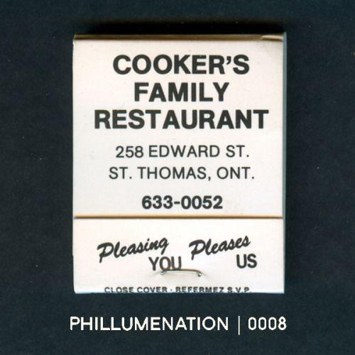 #Phillumenation 0008 : Cooker's Family Restaurant   St. Thomas, Ontario, Canada