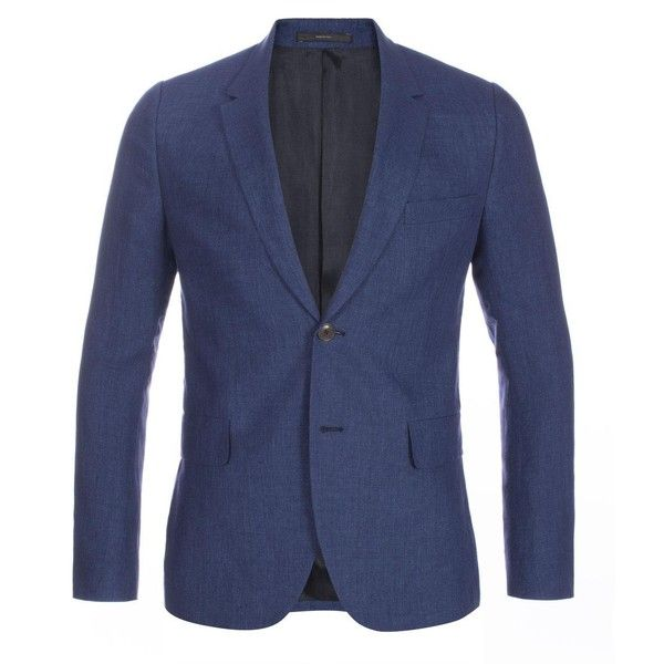 Paul Smith Men's Slim-Fit Indigo-Blue Linen Blazer (89990 RSD) ❤ liked on Polyvore featuring men's fashion, men's clothing, men's sportcoats, mens slim fit blazers, mens one button blazer, mens polka dot blazer, slim fit mens clothing and mens blazers