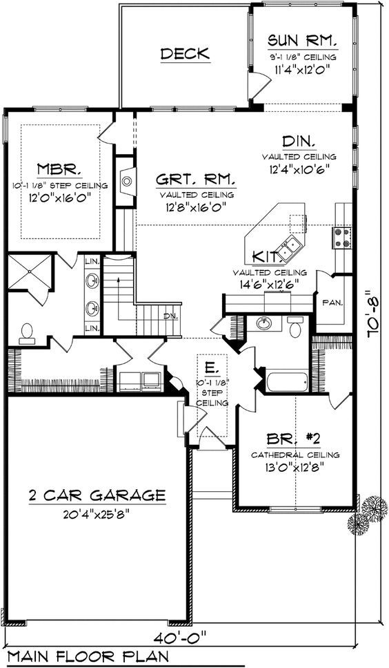 Ranch House Plan 97191 Level One Since I just want one story, I can use the stair space for a tub in the master