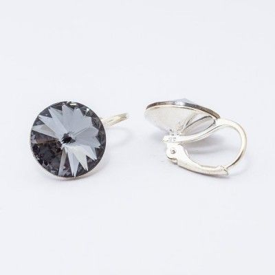 Swarovski Rivoli Earrings 12mm Silver Night  Dimensions: length: 1,7cm stone size: 12mm Weight ~ 3,18g ( 1 pair ) Metal : silver plated brass Stones: Swarovski Elements 1122 12mm Colour: Silver Night 1 package = 1 pair Price 16,90 PLN(about 4 EUR)