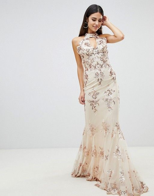 a0d247fb25f Goddiva maxi dress with gold embellishment in cream   ASOS   Dresses ...