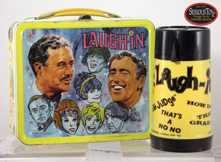 "Laugh–In"" Lunch Box: Lunch Box S, Vintage Lunchboxes, Metal Lunchboxes, Lunch Boxes, Vintage Lunch Box, Laugh In Lunch, Lunches, Collectible Lunchboxes, Lunch Box Thermos"